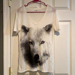 V neck wolf t shirt